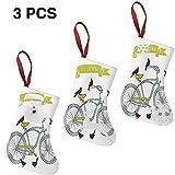 Calze Natalizie Set 3 Pezzi 7.5 ', I Love My Bike Concept con Uccelli Sul Sedile Incrociatore Veicolo di Base Arte semplicistica (10X19Cm)