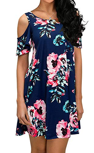 QIXING Women's Summer Basic Cotton Short Sleeve Pockets Loose Casual Floral Print Dress Navy Blue-L