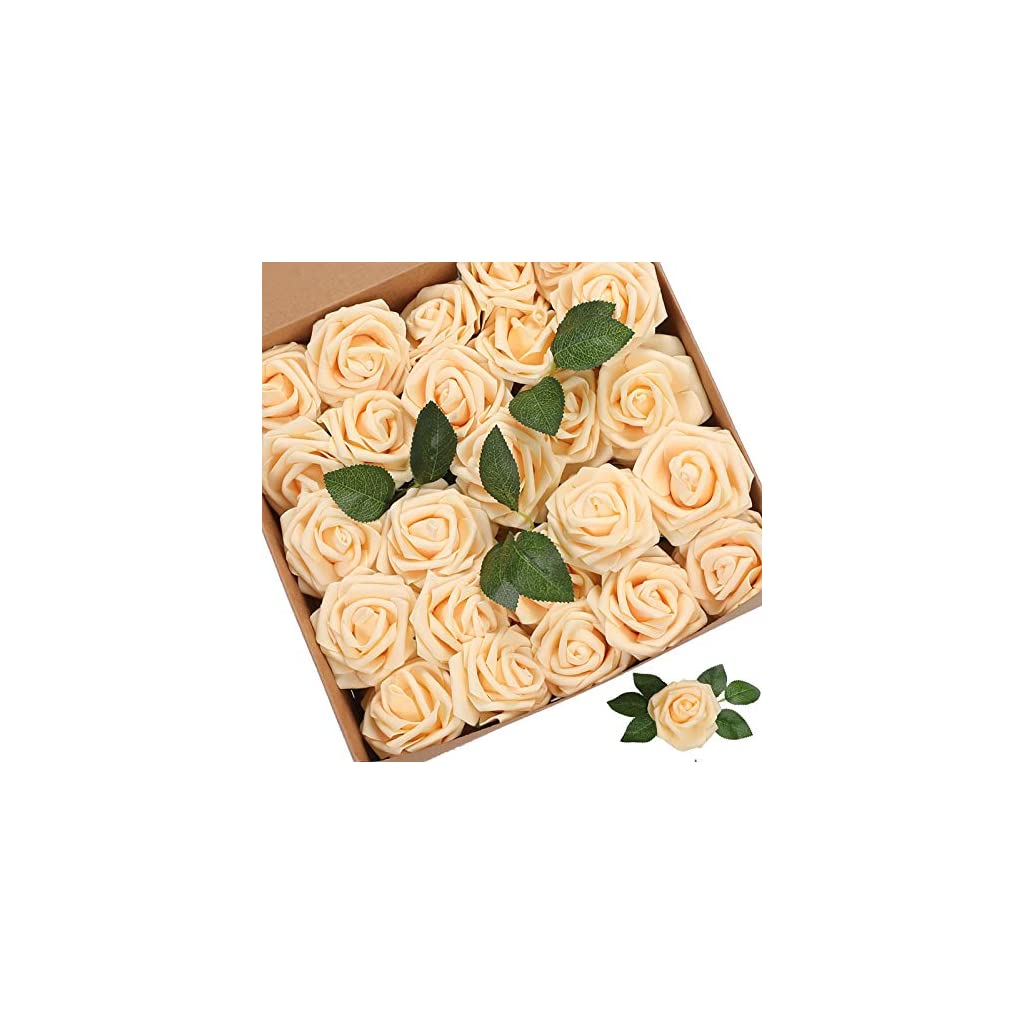 Artificial Flowers Roses 25pcs Red Roses Wedding Decoration Real Looking Fake Roses w/Stem for DIY Wedding Bouquets Centerpieces Arrangements Party Baby Showers Home Decorations
