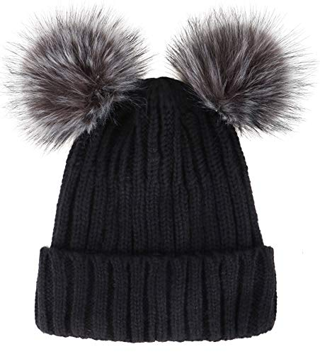 Simplicity Womens Beanie Winter Cable Knit Faux Fur Pompom Ears Beanie Hat