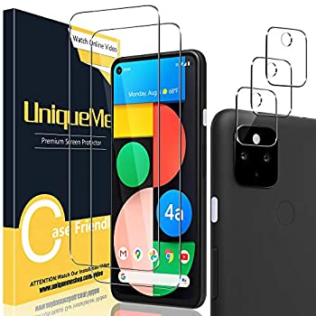 [2+3 Pack] UniqueMe Compatible with Google pixel 4A 5G Tempered Glass Screen Protector and Camera Lens Protector  Not Compatible for Pixel 4A 4G  HD Clear [Anti-Scratch] [Bubble Free]