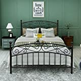 DUMEE Queen Size Metal Bed Frame Platform ModernAmericanStyle Mattress Foundation with Headboard and Footboard Box Spring Replacement,Queen Black Textured