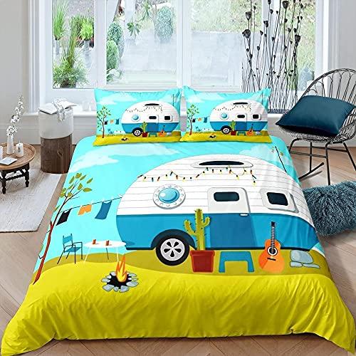 Funda Nordica 240x260 Casa Color Azul Suave Microfibra Colchas Cama con 2 Fundas de Almohada 80x80 y Cremallera Resistente Correa Fija Juveniles Infantil Niña