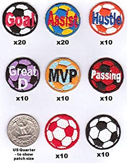 Soccer Coach's Motivational Award Patch Starter Kit - 100 Patches - Each 1-inch Iron-on Backing