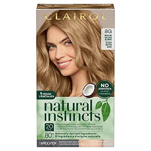 Clairol Natural Instincts Semi-Permanent Hair Dye, 8G Medium Golden Blonde Hair Color, 1 Count