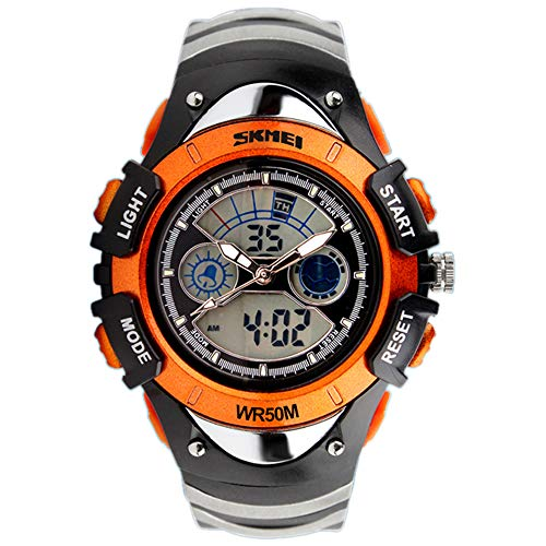 TONSHEN Kinderuhr Multifunktional Outdoor Militär Sportuhr 50M Wasserdicht Analog Quarz LED Doppelte Zeit Digital Uhren Plastik Lünetten und Kautschuk Band (Orange)