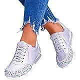 SSFG Zapatos de correr de encaje artificial con diamantes de imitación de punta redonda, zapatillas de deporte de cuña invisible, resistentes al desgaste al aire libre