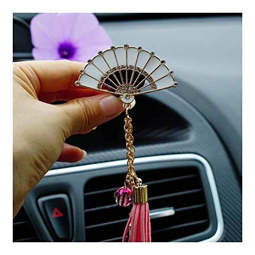 LPQSY Auto-Lufterfrischer, Auto-Ätherisches Öl-Diffusor, Diamant Fan Quaste Klimaanlage Clip Diffusor Fester Duftstoff-Auto Outlet Parfüm Vent Airfreshener Frauen (Farbe : Pink)
