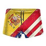 Zhengzho Vintage Reino Unido y Bandera Americana Hombres Traje de baño Trajes de baño Tabla de Surf Boxer Shorts Trunks, Talla M