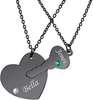 Supreme glory 2Pcs Personalized Love Jewelry Couple Matching Pendant Heart Lock Key Name Necklace with Birthstone for Freidnds Couples Family