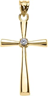 Solitaire Diamond Cross Pendant in 10k Yellow Gold