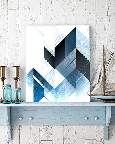 Artzee Designs Modern Modern Gray & Blue Block Canvas Art - Digitally Printed Canvas Prints For Hotel, Restaurant, Nurseries, Coffee Shop, Bar, Spa and Sauna