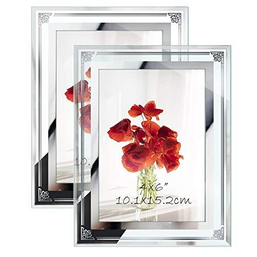 Eono Amazon Brand Glas Bilderrahmen 10x15 cm mit Blumen Muster am Rand, freistehend, 2er Set