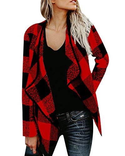 ACHIOOWA Jacke Damen Casual Kariert Revers Übergangsjacke Kurze Sweatjacke Cardigan mit Taschen Rot-A03889 L