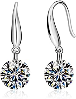 Crystals from Swarovski White Round Dangle Hook Earrings 18 ct White Gold Plated for Women
