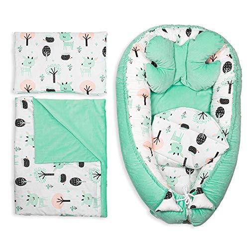 Babynestchen Set Neugeborene - Kuschelnest Baby Nestchen Bett Set 5- Teilig Kokon Baumwolle - Fleecestoff (Velvet Minze Set 5-TLG, 90x50 cm)