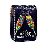 Estuche de lápiz Labial para Bolsa de Maquillaje para Exterior Mini Bolsa de Viaje Estuche cosmético Feliz Nuevo año champán vítores para Mujeres Regalos