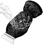 MATCC Ice Scraper Mitt Windshield Snow Scrapers with Waterproof Snow Remover Glove Lined of Thick Fleece Black
