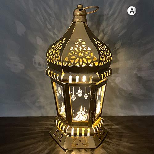 YFANHAN Ramadan Lights Eid Al-Fitr Fabricado De Hierro Forjado Linternas De Viento, Iluminación De Velas LED, Adornos De Artesanía Colgantes para Ramadan Mubarak Lámpara Decoración, Adornos,A
