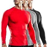 DRSKIN 1~3 Pack Compression Cool Dry Sports Top Shirt Baselayer Running Leggings Yoga Rashguard Men (Round (SBB01+SG-BL05+SRE07), L)