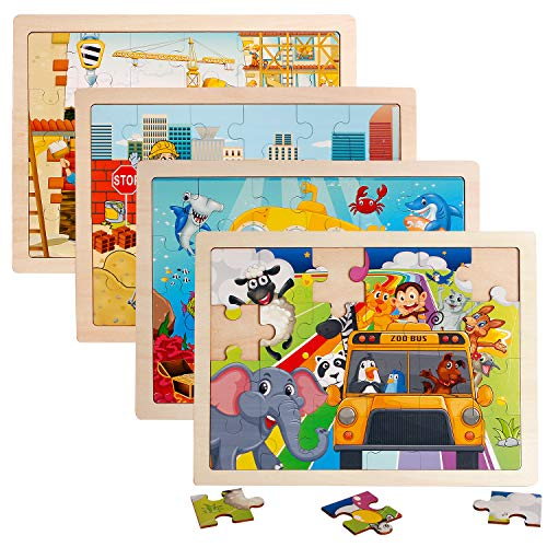 4 Packs 24 PCs Jigsaw Puzzles for Kids Preschool Educational Brain Teaser Boards Toys Animal Zoo Bus Marine World Construction Sites Children Enlightenment 3 Years Old and Up