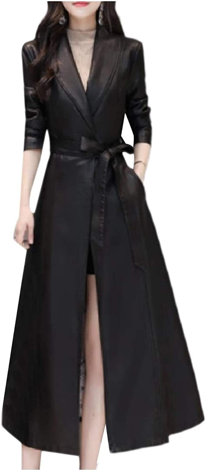 Doanpa Women TrimFit Long Belted Oversized Lapel Leather Trench Coat