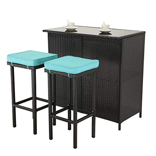 Do4U 3 Pieces Patio Bar Table Set All-Weather Outdoor Expresso Wicker Bar with 2 Storage Shelves Glass Top Table Cushioned Chairs for Poolside (Turquoise)