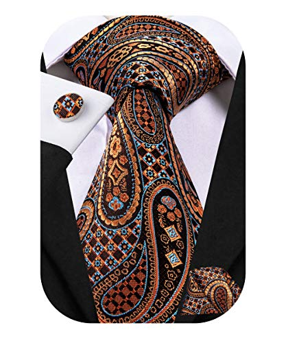 Dubulle Mens Retro Brown Tie Set Paisely Silk Tie and Pocket Square Set Necktie for Men