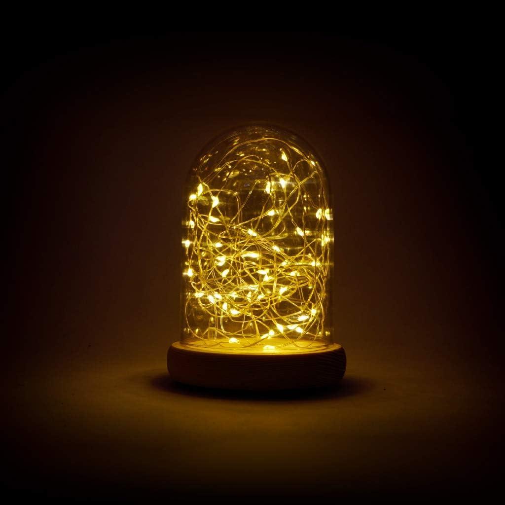 Decoración navideña Campana cúpula de 18 cm de alto con base de madera y 80 micro LED de luz blanca cálida alimentadas con pilas de la marca partenopeautensili®