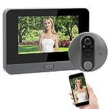 Mirilla Visor WiFi Video Timbre Intercomunicador 4.3 Pulgadas Monitor LCD Video Portero Teléfono con Visión Nocturna,...
