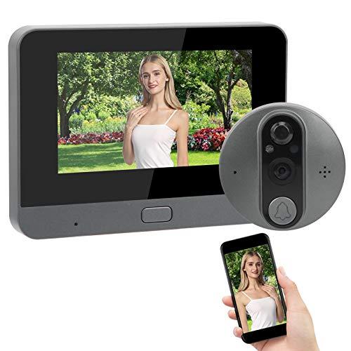 Mirilla Visor WiFi Video Timbre Intercomunicador 4.3 Pulgadas Monitor LCD Video Portero Teléfono con Visión Nocturna, Detección de Movimiento, Soporte para Tuya
