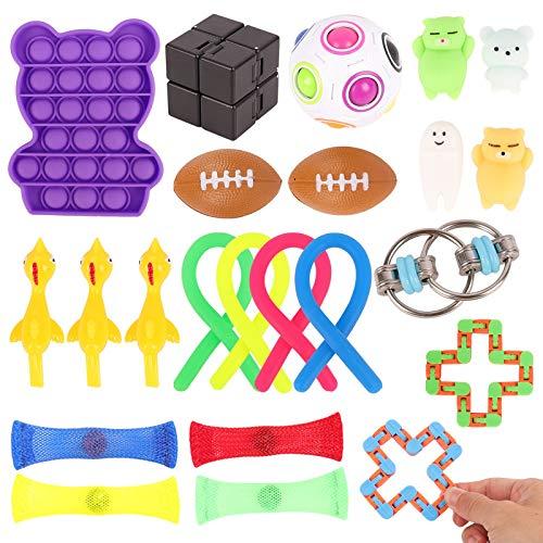 Herefun 25Pcs Juguetes Sensoriales Kit, Juguetes Antiestres para Aliviar el Estrés, Juguetes Fidget Autismo Sensorial Juguete, Fidget Toys Sensory Fidget Toys para Niños Adultos (Color2)
