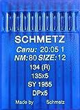 Schmetz, 10 aghi con testa rotonda per macchina da cucire, sistema 134(R), Industria St. 80;