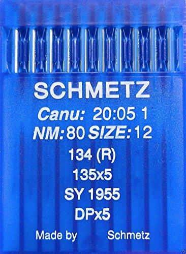 SCHMETZ 10 agujas redondas para máquina de coser, sistema 134 (R), industria, St. 80