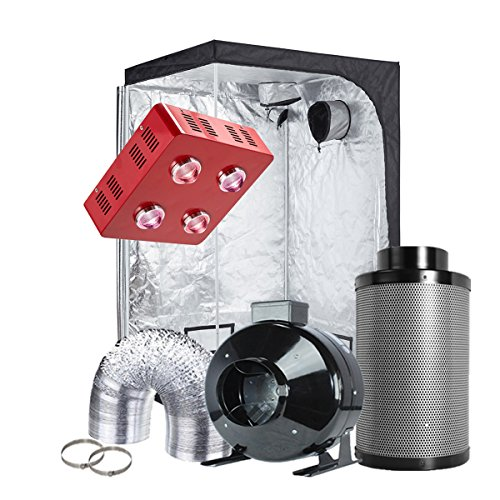 TopoGrow 4'X4' Grow Tent Complete Kit Package 800W COB LED Grow Light Full-Spectrum,...