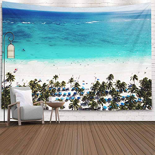 Musesh Autumn Tapestries Wall Hanging, Aerial View of Beach in Mexico North America Resort Tulum 80X60 Inches for Halloween Bedroom Living Room Decor Inhouse