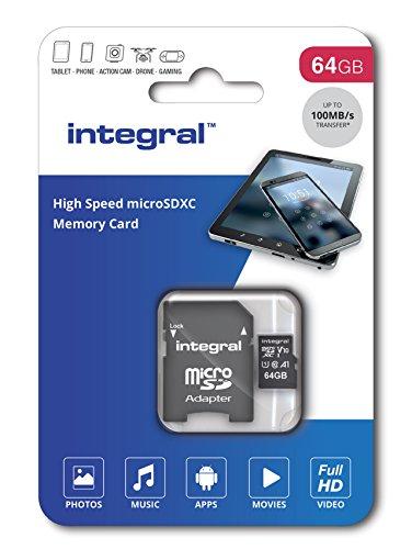 INTEGRAL MEMORY Micro SDXC 64GB Haute Vitesse 100MB/s de vitesse de transfert
