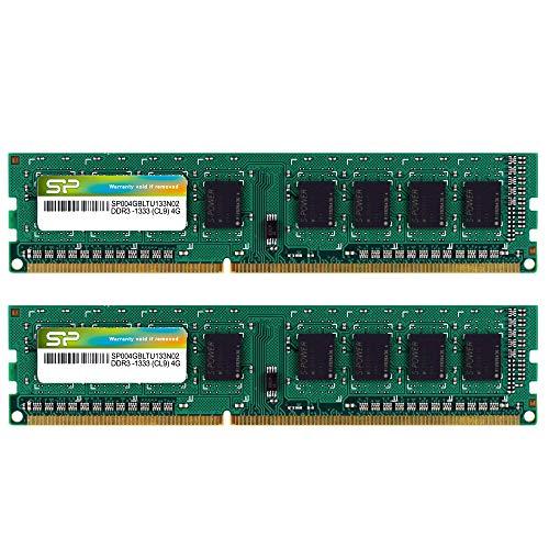シリコンパワー デスクトップPC用メモリ 240Pin DIMM DDR3-1333 PC3-10600 4GB×2枚 SP008GBLTU133N22