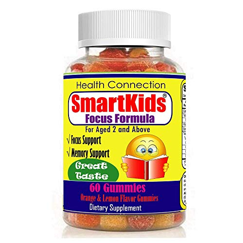 SmartKids - Brain Focus & Memory Formula Gummies, Kids & Teens, Improve Memory, Attention & Focus for Children, Great Taste Calming MultiVitamin, Omega 3 DHA Natural Nootropic Supplement, Best School