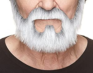 Mustaches Self Adhesive, Novelty, On Bail Fake Beard, False Facial Hair, Costume Accessory for Adults, Gray with White Color