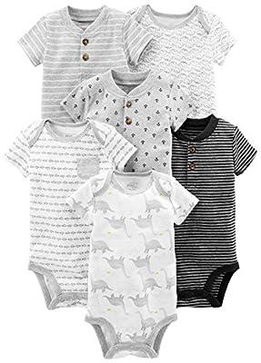 Simple Joys by Carter's Baby Boys' 6-Pack Short-Sleeve Bodysuit, Black/White, 12 Months