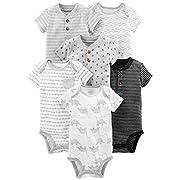 Simple Joys by Carter's Baby Boys' 6-Pack Short-Sleeve Bodysuit, Black/White, 6-9 Months