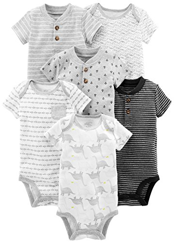 Simple Joys by Carter's Baby Boys' 6-Pack Short-Sleeve Bodysuit, Black/White, 3-6 Months