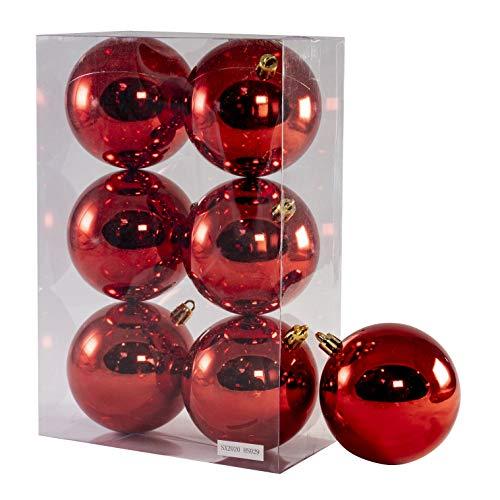 Arcoiris® Bolas de Navidad Multicolor, 6 Unidades de 8cm, Navidad Bolas para el árbol de Navidad, para Vacaciones, Bodas, Fiestas, Decoración de Regalos, Dorado, Varios tamaños (6pcs - 8cm, Rojo)