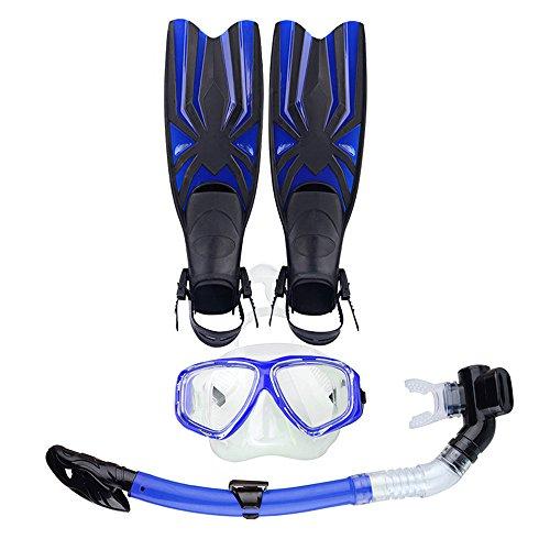 Combo Set Maschera Subacquea, Pinne e Boccaglio, Anti-appannamento Mascherina di Immersione Subacquea e Snorkeling Tubo per Adulti Unisex (Blu)