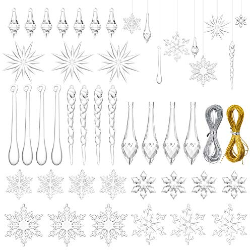 DearHouse 59Pcs Christmas Snowflake Ornaments, Icicles Ornaments Set Clear Snowflake Hanging Acrylic Christmas Ornaments for Christmas Tree Decorations