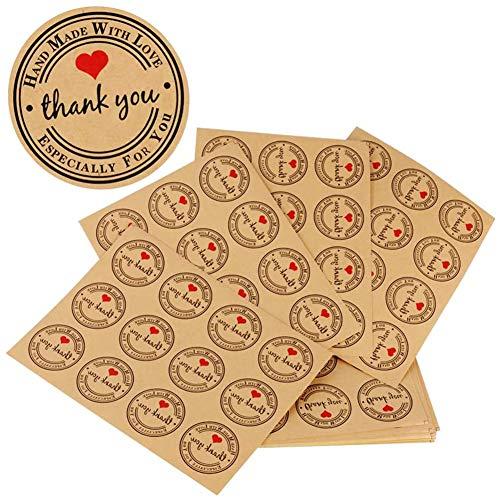 JPYH 480pcs Etiqueta Adhesiva Pegatina Kraft Sello Scrapbooking Gracias con Thank You Corazón para Bolsa Papel Jabón Regalo Recuerdo para Invitados Boda Aniversario Fiesta de Cumpleaños 3.8cm