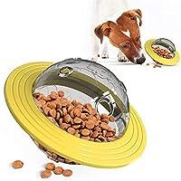 ペットボウル 犬 UFO教育食品分配IQを追いかけてボールを払拭するためのおもちゃペットボウルスナック (Color : Yellow)
