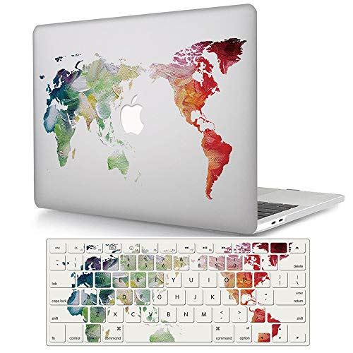 ACJYX Compatible with MacBook Pro 13 inch Case with CD-ROM (Model: A1278,Old Version 2012/2011/2010/2009/2008), Matte Protective Plastic Hard Shell Case with Keyboard Cover, Map