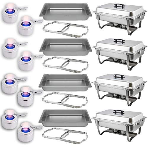 Chafing Dish Buffet Set — Folding Frame + Water Pan + Food Pan (8 qt) + 2 Fuel Holders - 4 Full Warmer Kit